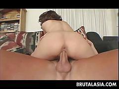 Slut kaiya lynn sits on a big cock with her butt