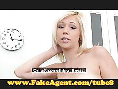Fakeagent innocent blonde takes first time facial in casting