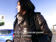 teen, money talks, outdoor, street, czech, brunette, undressing, car, vikky, public pickups, mofos cash