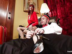 milf, femdom, redhead, mistress, hotel, slave, pantyhose, fetish, licking feet, feetjob, cbt, john jammen, maitresse madeline, foot worship, kinky dollars