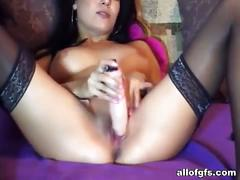 Ex busty gf toys her sexy shaved cunt on the cam.