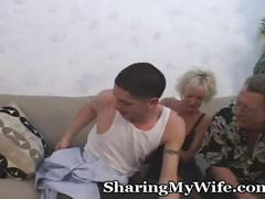Older momma fucks young guy in front of hubby