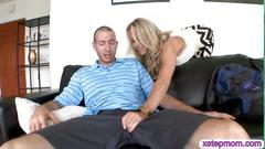 Blonde babe is a sex addict loving her threesome fucking