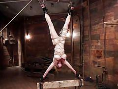 milf, blonde, hanging, busty, vibrator, tied up, clothespins, electro bdsm, rope bondage, hogtied, kink, darling