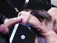 big cock, blowjob, brunette, from behind, pussy rubbing, busty babe, ass grabbing, boobs groping, porn stars like it big, brazzers network, danny d, peta jensen