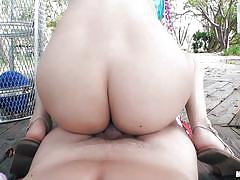 Young latina gets fucked in public place