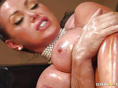 milf, anal, blowjob, oiled, bootylicious, big breasts, on couch, pearl necklace, big wet butts, brazzers network, nikki benz, keiran lee