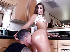young, big ass, kitchen, oiled, pussy licking, brunette, natural tits, pussy rubbing, splits, ass parade, bangbros network, kelsi monroe