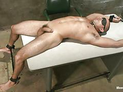 handjob, bdsm, blindfolded, tied up, table, cock torture, collar, gay, hot abs, oiled cock, chris tyler, men on edge, kinky dollars