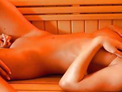Hot beauties in hot sauna