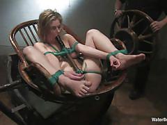 Lustful whore fayth enjoying her water punishment