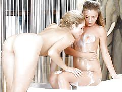 Sexy chicks making soapy love in the bathroom