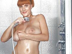 Big boobs redhead milf showering