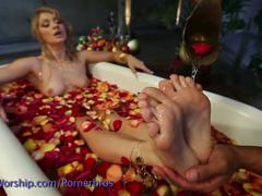 Worshipping feet between rose petals