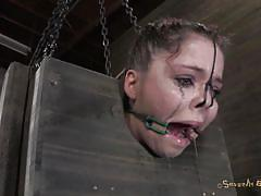 milf, bdsm, interracial, brunette, from behind, black male, mouth opened, face torture, bondage box, jessi palmer, matt williams, sexually broken, kinkster cash