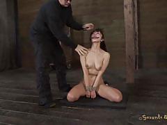 Asian girl on her knees