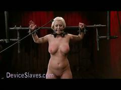 Busty blonde bound in metal tormented
