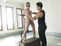 bondage, bdsm, twink, vibrator, blindfolded, tied up, gay, ropes, clamps, executor, shibari, drake wild, men on edge, kinky dollars