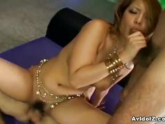 Hot japanese babe gets her hairy pussy fucked.