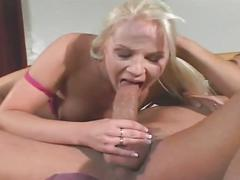 Blonde takes and rides big cock in her butt hole