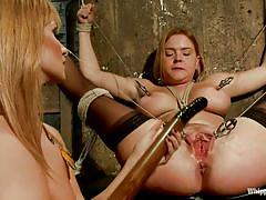 anal, femdom, bdsm, stockings, blondes, big breasts, sucking dildo, pink shaved pussy, clamps on nipples, clamps on pussy, krissy lynn, lea lexis, whipped ass, kinky dollars