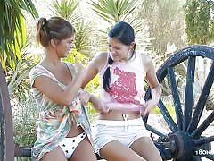 Mia and romea having lesbian fun at outdoors