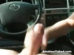 Megatits girlfriend jerks in the car
