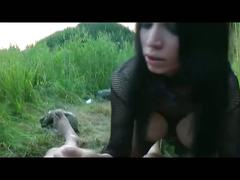 Sexy goth slut fucked outdoors