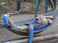 teen, blonde, skinny, russian, solo, forest, outdoors, hammock, sasha blonde, sasha blonde, diesel action