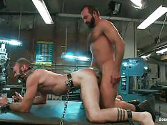 anal, bdsm, domination, gays, tied up, from behind, collar, unshaved ass, workbench, mouth gagged, anal torture, clayton kent, josh west, bound gods, kinky dollars
