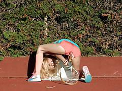 teen, blonde, skinny, outdoor, russian, solo, posing, sport, tennis, tennis field, short pants, sasha blonde, sasha blonde, diesel action