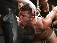 threesome, game show, hanging, slave, domination, masked, gay blowjob, gay anal, rope bondage, 30 minutes of torment, kink men, seth santoro