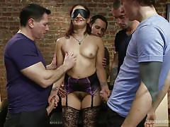 Blindfolded bitch gets gang banged