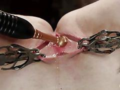 blonde, babe, slave, domination, pussy torture, upside down, metal clamps, rope bondage, electric prod, hogtied, kink, winnie rider