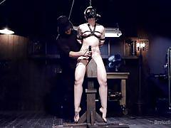 small tits, bdsm, domination, vibrator, blonde babe, bondage device, gas mask, clothes pins, device bondage, kink, orlando, elizabeth thorn