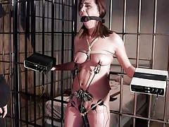 babe, prison, tied, vibrator, brunette, ball gag, nipple clamps, electro bdsm, hogtied, kink, roxanne rae