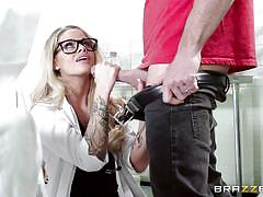 hospital, glasses, uniform, deepthroat, doctor, tattooed, pov, blonde babe, doctor adventures, brazzers network, jessa rhodes, johnny sins