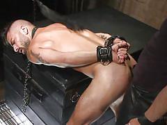 Collared slave rides the gimp