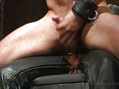 Collared slave rides the gimp