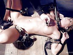 bdsm, dildo, vibrator, busty milf, bondage device, clothespins, nipple clamps, metal bondage, device bondage, kink, ariel xxxxxx