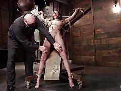 whipping, slave, domination, dungeon, gagged, crucified, brunette babe, nipple clamps, rope bondage, hogtied, kink, sgt. major, raven bay
