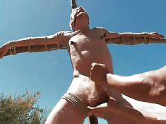 Bondage loving gay torturing logan at outdoors