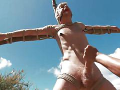 handjob, bondage, bdsm, outdoor, blindfolded, tied up, gay, ball gag, nipple clamps, shibari, logan stevens, men on edge, kinky dollars