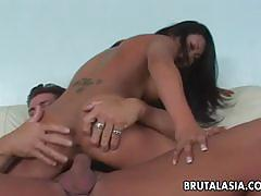 Hot asian brunette gets her ass blasted hard