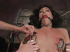 lesbian, fisting, bondage, bdsm, milfs, brunette, ropes, clamps on nipples, electrodes, ballgag, sasha grey, satine phoenix, wired pussy, kinky dollars