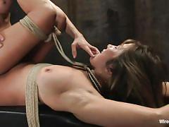 bdsm, strap on, lesbian domination, screaming, saliva, brunette milf, anal plug, tied on table, electric wand, electricity, princess donna dolore, vai, wired pussy, kinky dollars