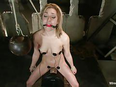 small tits, milf, blonde, bdsm, lesbian domination, suffocation, sex machine, ball gag, weight, electrodes, lily labeau, princess donna dolore, wired pussy, kinky dollars
