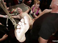 Pretty blonde milf disgraced in front of the audience