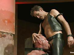 bondage, blowjob, gay bdsm, tied up, leather pants, muscled gay, bald gay, leather belts, master avery, chad brock, bound gods, kinky dollars