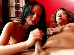 Brunette blow cock while fingering her wet pussy